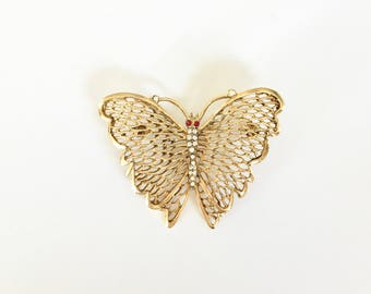 Vintage Brooch/Pin - Gold Butterfly with Rhinestones - Vintage Jewelry