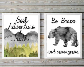 wildlife,Seek Adventure,find truth,be brave,Courage,neutral nursery,mountain,forest,trees,Watercolor, wall art, 8.5x11, digital, Printable.