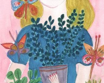 original watercolor on paper - Petites Plantes - Little Plants