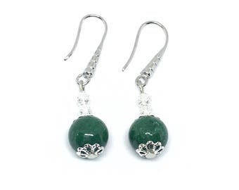 Bottle green agate and silver metal earrings.