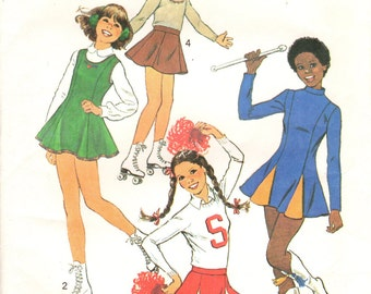 1970s Simplicity 8131 UNCUT Vintage Sewing Pattern Girls Cheerleading Costume, Skating Costume Size 7-8