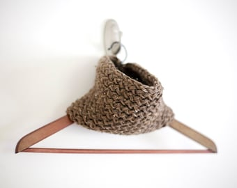 Knit Infinity Scarf in Barley Brown: Made to Order