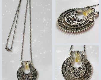 """Pendant silver antique chain fine mesh with semi-precious """"citrine"""" stone."""