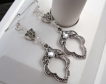 Silver earrings, crystal earrings, leaf earrings, gift for her, gift for woman, silver crystal earrings, teardrop, antiqued, vintage style