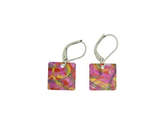 Unique red / purple small square reversible earrings, steel reversible french hooks, hand painted on anodized aluminum