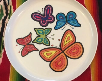 60s Deka Plastic Psychedelic Plastic Butterfly Serving Tray Platter Plate MOD MCM