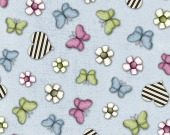 Quilting Treasures - On Top of the World - Burtterfly and Hearts Fabric - Blue