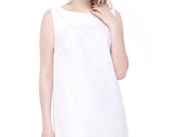 Basic linen dress (white colour)