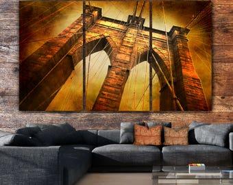 New York Brooklyn Bridge, Gold-Brown Canvas artwork, Brooklyn Bridge Art, New York Art, Brooklyn Bridge Canvas Print, New York Skyline, Gift