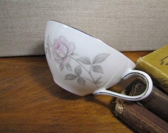 Vintage Amcrest Fine China Teacup - Carmen Pattern - Pale Pink Roses - Gray Leaves