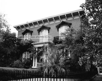 Mercer House Savannah Georgia black and white photograph
