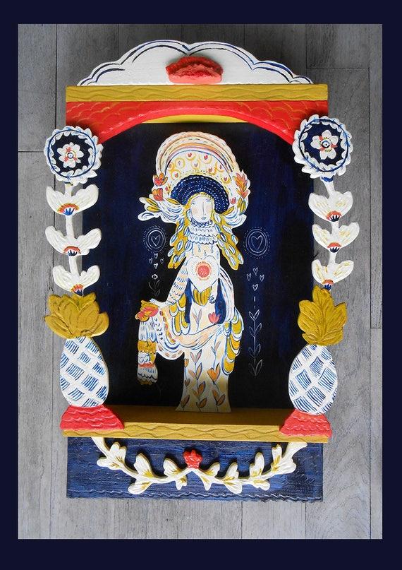 OOAK Marin wall sculpture by Kimberly Hodges, wood wall sculpture, OOAK, goddess sculpture, Kwan Yin, retablo, yin yang,