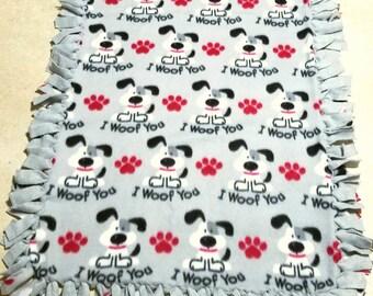 Dog Fleece  Pet Blanket I Woof You