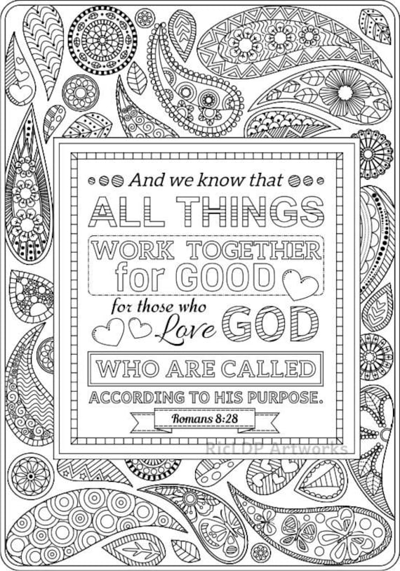 2 Printable Bible Coloring Pages Romans 8 28 and Romans 2 12