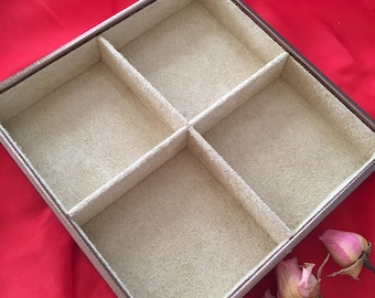 Supply Jewelry Tray. Bronze Textured Jewelry Box With 4 Square Sections for Your Jewelry Storage. Tan Flocked Insides. Stackable Tray.