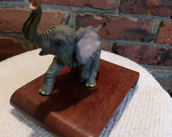 Baby elephant on wood base, elephant décor, detailed baby elephant, animal décor, Vintage baby elephant, Morethebuckles