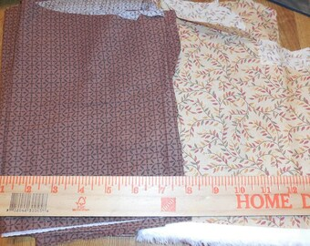 Destash- 6 pieces of Brown and Tan Quilter's Cotton Fabric
