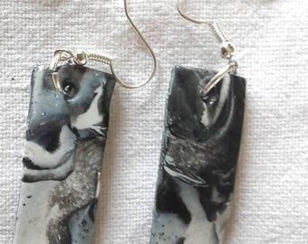 Rectangular earrings black and gray