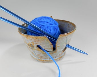 Ceramic knitting  bowl - pottery crochet tatting holder - stoneware knitting bowl - pottery yarn bowl - pottery knitting bowl with stars