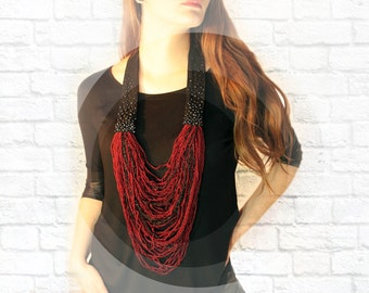 Burgundy Knitted Necklace. Knit Multi Strand Necklace. Multi Strand Statement Necklace. Scarf Necklace. Knitted and crochet necklace.