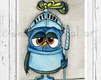 Knight Owl print. Knight owl matted print. Blue knight. Kids decor. Nursery art. Bathroom art. Owl decor. Owl gift.