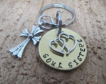Soul Sisters keychain, hand stamped keychain,  sister gift, Best friend gift, jewelry, BFF gift,gift for friend,unbiological sister gift