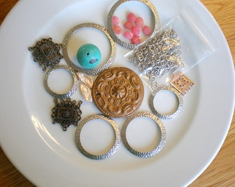 Destash Jewelry Making Supplies - Silver Tone Hoop Elements - Turquoise Ball Bead - Silver Tone jump Rings and More