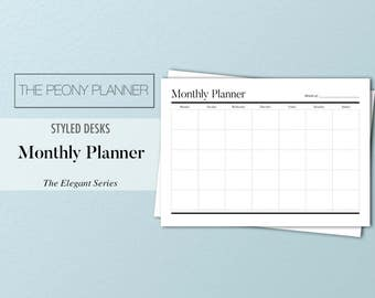 Printable | MONTHLY Desk Planner - Sunday and Monday Start | A4 & Letter Size | 2017 Month Organiser | Simple, Elegant, Minimal, Styled