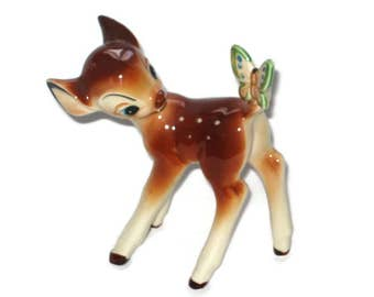 Walt Disney Productions Bambi Deer Butterfly Figurine Porcelain Ceramic Figure Vintage Japan