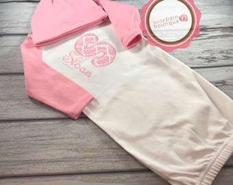 Newborn baby Gown and hat set, Baby Girl,