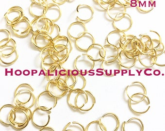 75pc 8mm WILL NOT Change Color. Gold Jump Rings. Stainless Steel. Unsoldered. Fast Shipping from USA.