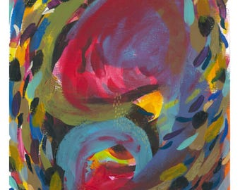 "Small Abstract Painting on Paper: ""Summer Carnival III"""