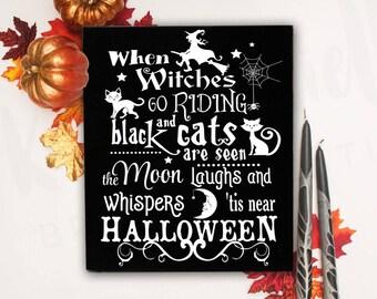 Halloween Signs, Halloween, Halloween Wall Decor, Witch Decor, Halloween Party Decor,Halloween Wood Signs,Halloween Decorations, Black Cat
