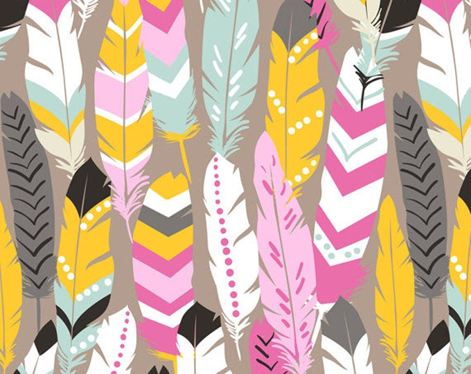 Half Yard Luckie - Fringe in Pink - Feathers Cotton Quilt Fabric - by Maude Asbury for Blend Fabrics - 101.115.04.2 (W3459)