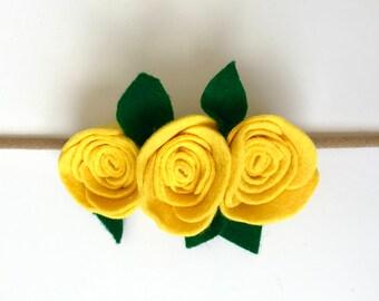 Light Mustard Yellow Rose Felt Flower Crown
