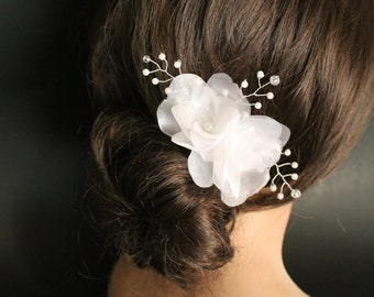 Bridal Organza Flower Hair Fascinator, Wedding Accessories, Hair Comb with Crystals and Pearls