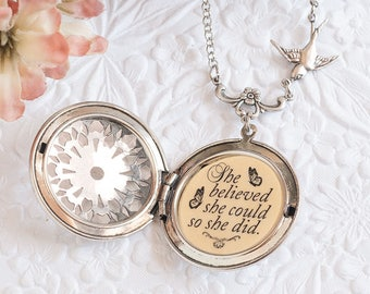 She believed she could so she did Quote Necklace Silver Locket Graduation Gift College Gift Back to School Inspirational Jewelry
