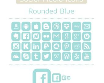 Blue Social Media Icons