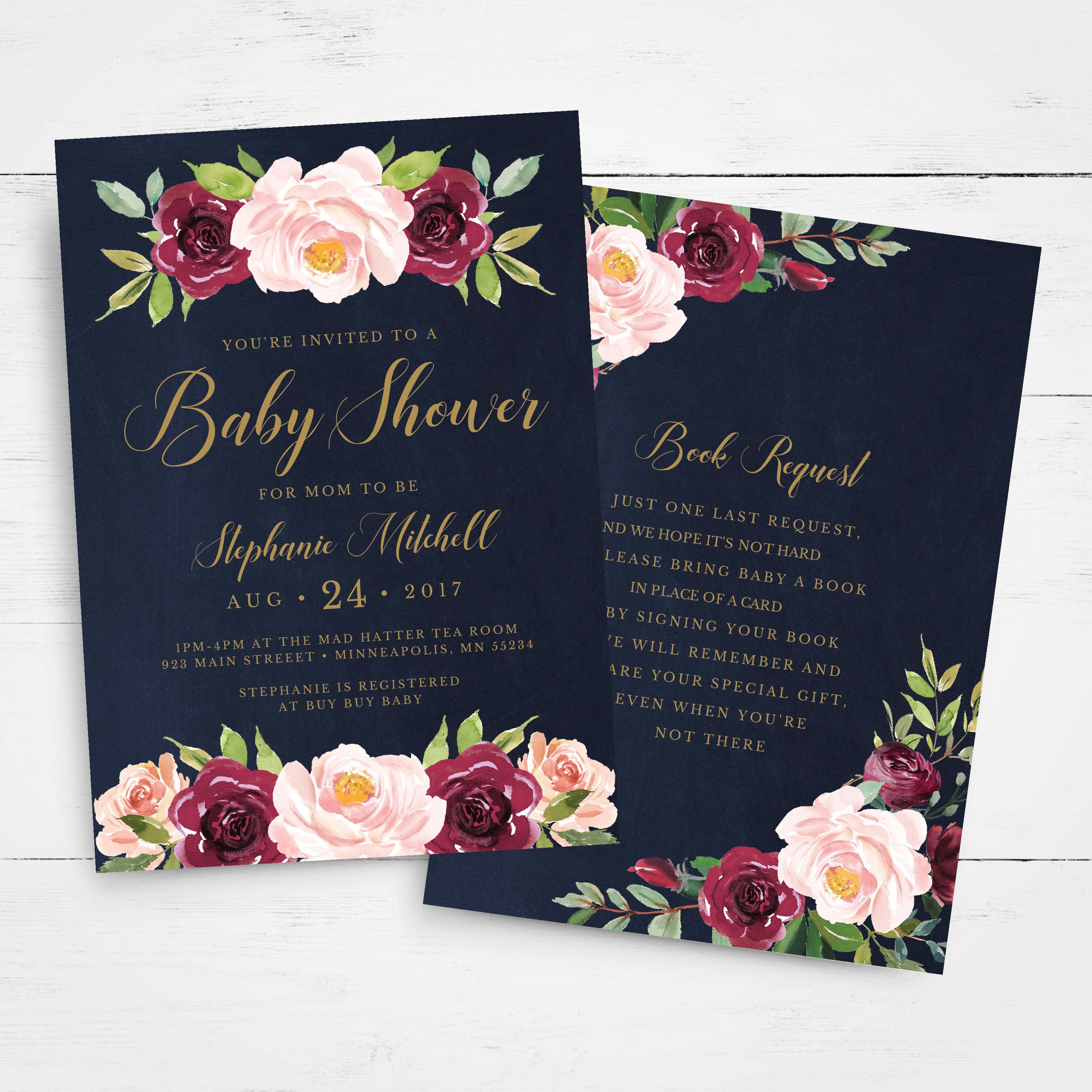 Floral Baby Shower Invitation Template, INSTANT DOWNLOAD, Editable ...