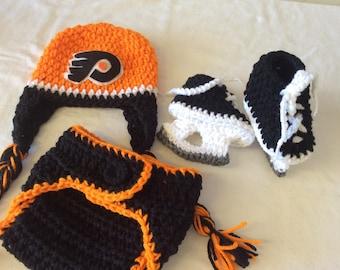 Philadelphia Flyers Baby Crochet Hockey Earflap Hat, Diaper Cover, and Skate Booties .