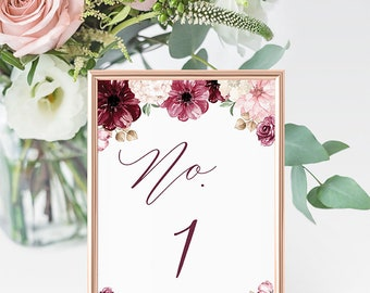 Blush and Wine Floral Wedding Table Number