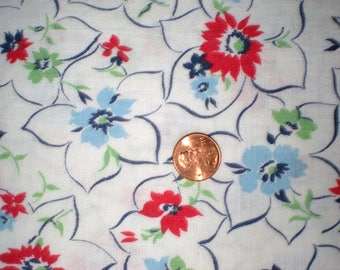 Vintage Feedsack Flour Sack Fabric White Red Blue 1930's 1940's Quilt Patchwork Fat Quarter