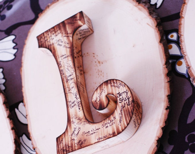 Wooden Guest Book Letter with Twig Style Pen - Any letter available