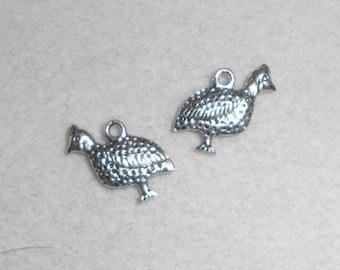 Silver Bird Quail Charms