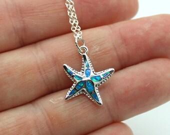 Starfish Necklace, Sterling Silver Starfish Necklace with Opal Inlay - Starfish, Sterling Silver, Beach Jewelry, Beach Wedding