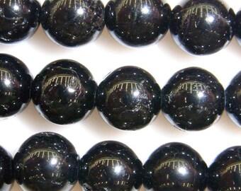Tourmaline Beads Natural Genuine 4mm Round Black Beads 15''L 38cm Loose Beads Semiprecious Gemstone Bead   Supply