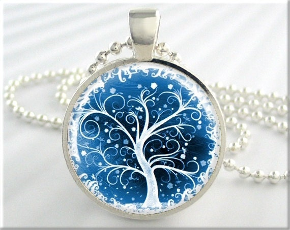tree of life pendant winter snow jewelry resin necklace art. Black Bedroom Furniture Sets. Home Design Ideas