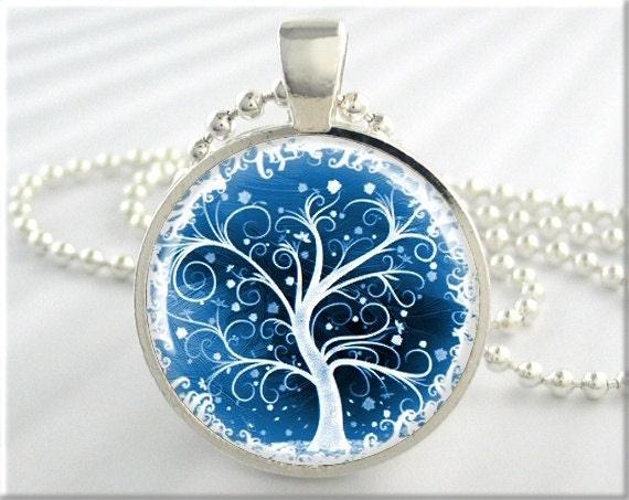 Tree of life pendant winter snow jewelry resin necklace art ampliar aloadofball Gallery
