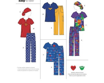 Simplicity 8266 Size 4-16 or 14-26 Misses' Easy To Sew Scrub Tops, Pants and Hat Sewing Pattern  / Uncut FF