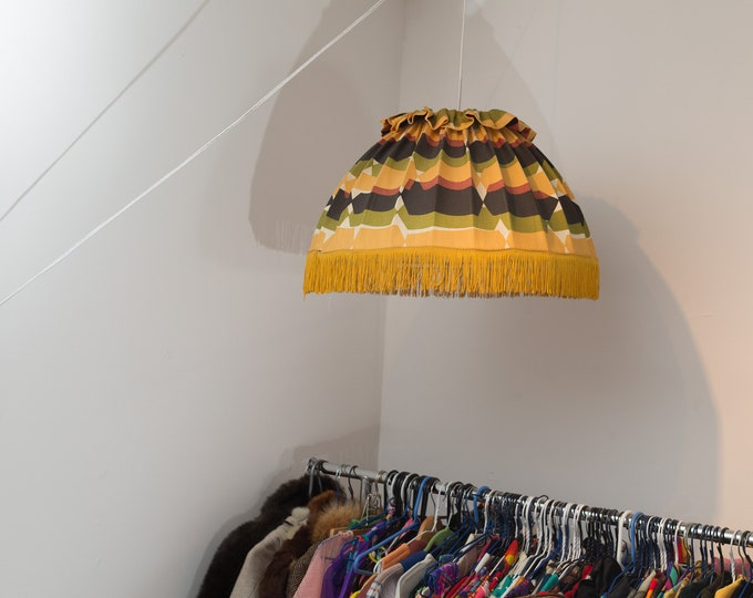 Vintage Pendant Lampshade - Mid Century Danish Modern Fabric Hanging Lampshade - Yellow, Green and Brown Ruffled Wire Lampshade
